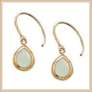 Gold and Faceted Chalcedony Teardrop Earrings