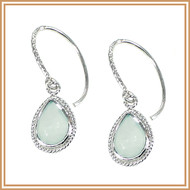 Faceted Chalcedony Teardrop and Textured Sterling Silver Earrings