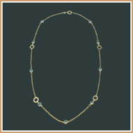 Faceted Chalcedony and Gold Chain Necklace