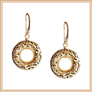 Carved Gold Ring Earrings