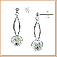 Diamond cut Sterling Silver and Curved Tube Earrings