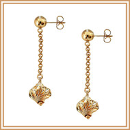 Gold Decorative Bead and Chain Earrings