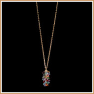 Faceted MultiGemstone Teardrop and Gold Chain Necklace