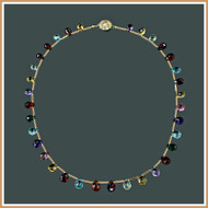Faceted MultiGemstone and Gold Tube Necklace