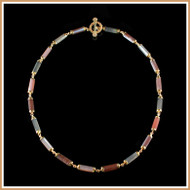 Multi Color Faceted Moonstone Tube Necklace