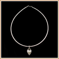 Ridged Pearl Petal and Sterling Silver Necklace