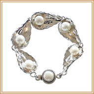 Pearl and Sterling Silver Curved Petal Bracelet