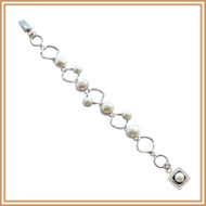 Sterling Silver Diamond and Pearl Bracelet