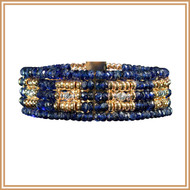 Blue Sapphire, Gold and Silver Square Bracelet