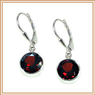 Sterling Silver and Faceted Garnet Disc Earrings