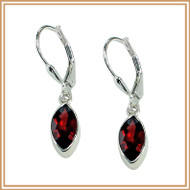 Sterling Silver and Faceted Garnet Marquis Earrings