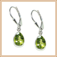 Sterling Silver and Faceted Peridot Teardrop Earrings