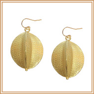 Gold Large Patterned Oval Earrings