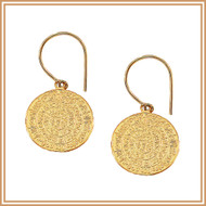 Gold Textured Medallion Earrings