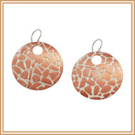 Copper and Carved Silver Disc Earrings