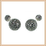 Sterling Silver and Marcasite Double Ball Earrings