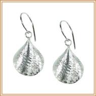 Sterling Silver Ridged Shell Earrings