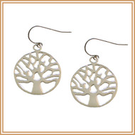 Sterling Silver Carved Tree Earrings