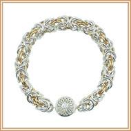 Sterling Silver and Gold Byzantine Bracelet