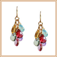 Faceted Multi-Gemstone Flat Teardrop Earrings