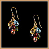 Faceted Multi-Gemstone Rounded Teardrop Earrings