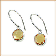 Faceted Round Citrine and Sterling Silver Earrings