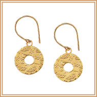 Gold Carved Disc Earrings