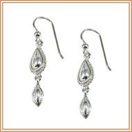 Sterling Silver Domed Paddle Earrings