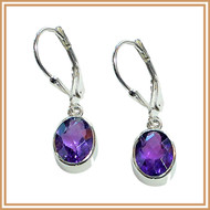 Sterling Silver and Faceted Amethyst Oval Earrings