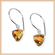 Sterling Silver and Faceted Citrine Inverted Triangle Earrings