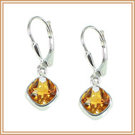 Sterling Silver and Faceted Citrine Diamond Earrings