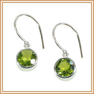 Sterling Silver and Faceted Peridot Round Earrings