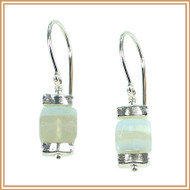Crazy Lace Agate Cube and Sterling Silver Earrings