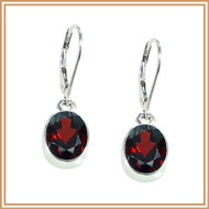 Sterling Silver and Faceted Garnet Oval Earrings