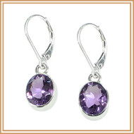 Sterling Silver and Faceted Pink Amethyst Oval Earrings