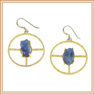 Rough-cut Tanzanite and Gold Circle Earrings