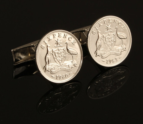Australian Sixpence Coin Cufflinks Front View
