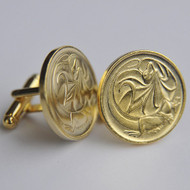 1985 Australian Gold Plated 2 Cent Coin Cufflinks – Birth Year 1985