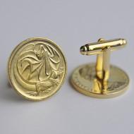 1982 Australian Gold Plated 2 Cent Coin Cufflinks – Birth Year 1982