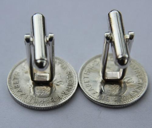 1962 birth year Australian Sixpence Coin-Cufflinks 460x545 Back