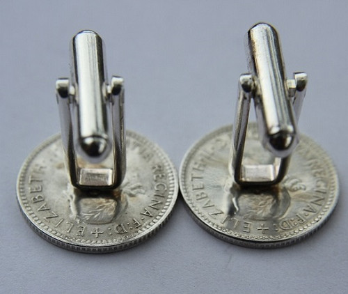 1961 birth year Australian Sixpence Coin-Cufflinks 460x545 Back
