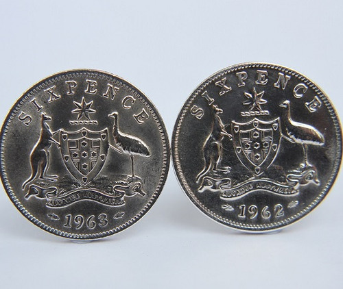 1954 birth year Australian Sixpence Coin-Cufflinks 460x545 Front