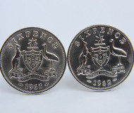 1951 birth year Australian Sixpence Coin-Cufflinks 460x545 Front