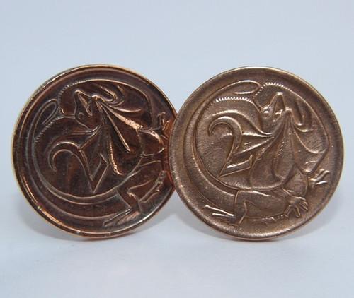 1967 Australian 2 Cent Coin Cufflinks