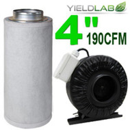 Yield Lab 4 Inch 190 CFM Charcoal Filter and Duct Fan Combo Kit