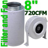 Yield Lab 8 Inch 720 CFM Charcoal Filter and Duct Fan Combo Kit