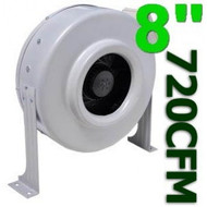 Gro1 8 Inch 720 CFM High Output In Line Duct Fan