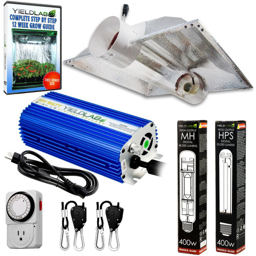 Yield Lab 400w HPS+MH Cool Tube Hood Reflector Grow Light Kit - Free Shipping