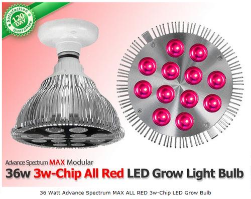 36 Watt Advance Spectrum MAX ALL RED 3w-Chip LED Grow Bulb