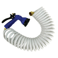15 White Coiled Hose w/Adjustable Nozzle